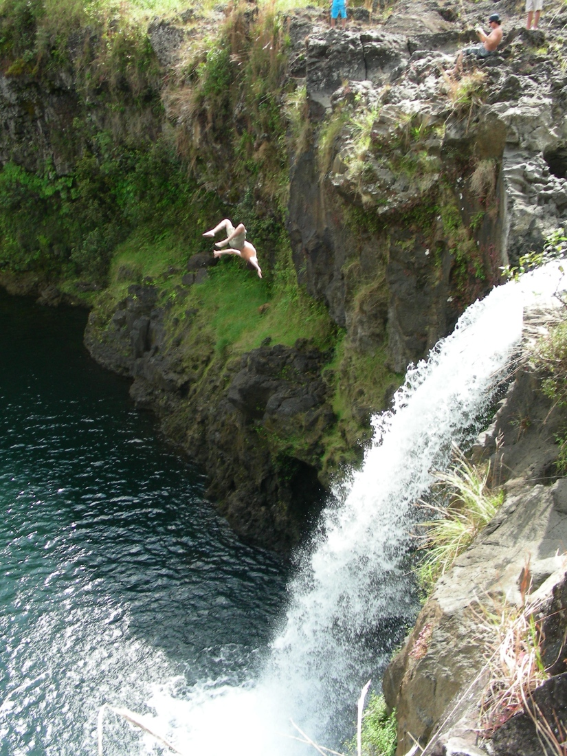 We found a waterfall to jump off of!